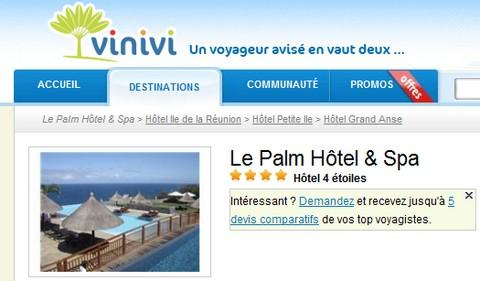 Avis Vinivi sur le Palm hôtel
